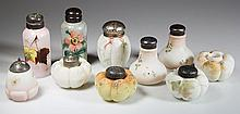 ASSORTED DECORATED OPAL SALT AND PEPPER SHAKERS, LOT OF TEN