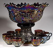 NORTHWOOD GRAPE AND CABLE CARNIVAL GLASS 11-PIECE MASTER PUNCH SET