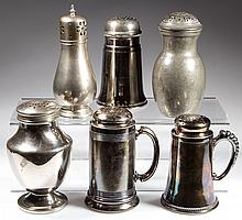 ASSORTED METAL MUFFINEERS AND SUGAR SHAKERS, LOT OF SIX