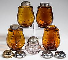 ASSORTED PATTERNS SUGAR SHAKERS/JARS AND LIDS, LOT OF NINE
