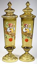 BOHEMIAN DECORATED PAIR OF COVERED JARS