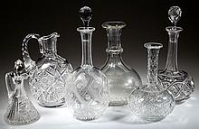 ASSORTED CUT GLASS DECANTERS, LOT OF SIX