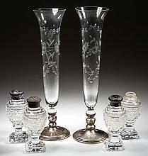 CUT / ENGRAVED GLASS AND STERLING SILVER ARTICLES, LOT OF SIX