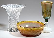 ASSORTED STUDIO / ART GLASS ARTICLES, LOT OF THREE