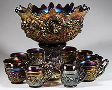 NORTHWOOD ACORN BURR CARNIVAL GLASS 12-PIECE PUNCH SET