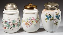 DECORATED OPALWARE SUGAR SHAKERS, LOT OF THREE