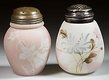 DECORATED OPALWARE SUGAR SHAKERS, LOT OF TWO