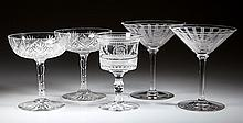 ASSORTED CUT / ENGRAVED GLASS DRINKING VESSELS, LOT OF FIVE