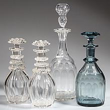 ASSORTED BROAD-FLUTE CUT GLASS DECANTERS, LOT OF FOUR