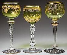 ASSORTED CONTINENTAL DECORATED RHINE WINE GLASSES, LOT OF THREE