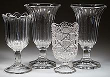 BROAD-FLUTE CUT GLASS PAIR OF VASES