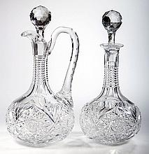 AMERICAN BRILLIANT CUT GLASS MATCHING WINE JUG AND DECANTER