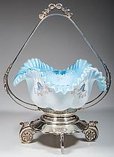 VICTORIAN DECORATED CASED GLASS BRIDE'S BASKET