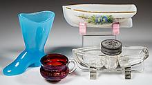 ASSORTED PRESSED GLASS NOVELTY ITEMS, LOT OF FOUR