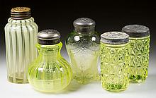 ASSORTED SALT SHAKERS, LOT OF FIVE