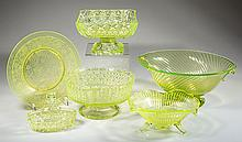 ASSORTED PRESSED GLASS ARTICLES, LOT OF SIX
