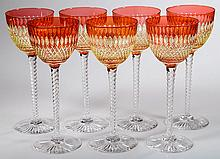 CONTINENTAL TWO-COLOR CUT OVERLAY RHINE WINE GLASSES, SET OF SEVEN
