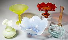 ASSORTED AMERICAN COLORED GLASS ARTICLES, LOT OF SIX