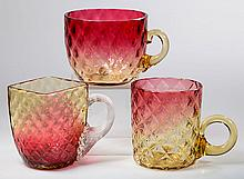 AMBERINA DIAMOND-OPTIC PUNCH / CUSTARD CUPS, LOT OF THREE