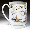 ENGLISH STAFFORDSHIRE POTTERY PRATTWARE TANKARD / LARGE MUG