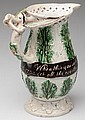 RARE ENGLISH DATED PEARLWARE PUZZLE JUG
