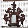 VICTORIAN CARVED WALNUT HAT RACK AND MIRROR