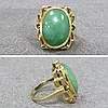 GOLD CABOCHON JADE RING