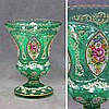 BOHEMIAN ENAMEL DECORATED CRYSTAL VASE