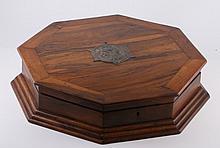 OLIVE WOOD OCTAGONAL BOX WITH METAL HERZL - BEZALEL, CA. 1912