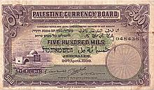 A BANKNOTE OF FIVE HUNDRED MILS - JERUSALEM, APRIL 20 1939