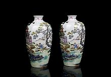 Pair Top Chinese Qing Enamel Porcelain Vases