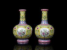 Pair Top Chinese Qing Famille Rose Porcelain Vases