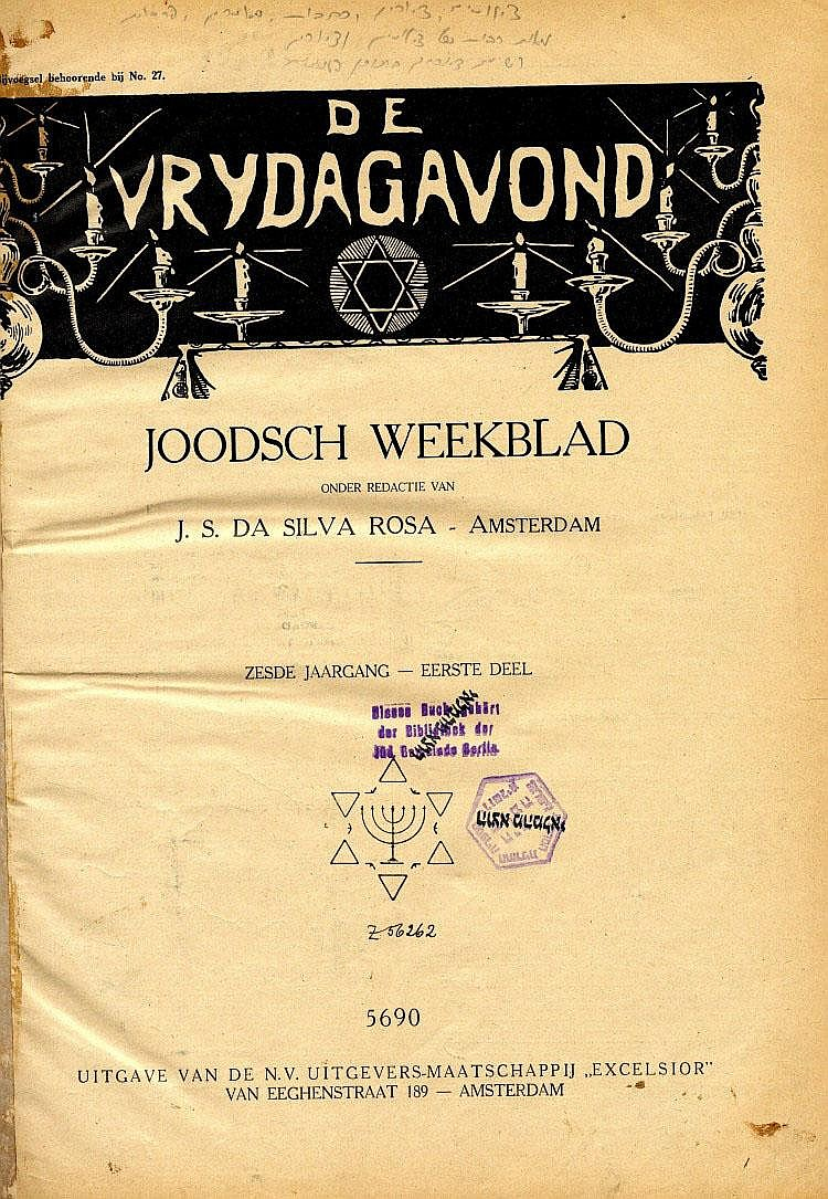 Periodical. De Vrydagavond. [Friday Night]. Dutch. 1930.