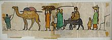 Arabs in the Village. Colored Sketch. Ze'ev Raban. 1920s-30s