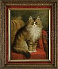 PERCY A. SANBORN (American, 1849-1929) CAT ON A VICTORIAN CHAIR