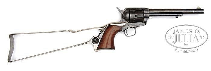 EXTRAORDINARILY RARE & UNIQUE COLT PINCH FRAME SINGLE ACTION ARMY REVOLVER WITH ORIGINAL SKELETON SHOULDER STOCK.