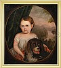 UNSIGNED (American, Mid 19th Century) PORTRAIT OF A CHILD WITH ROTTWEILER SHOWING VIEW OF THE HUDSON RIVER.