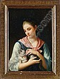 CHARLES JOSHUA CHAPLIN (French, 1825-1891) PORTRAIT OF A WOMAN WITH KITTEN