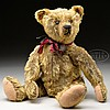 PRECIOUS AND EARLY STEIFF CENTER SEAM BEAR WITH BUTTON AND PROVENANCE.