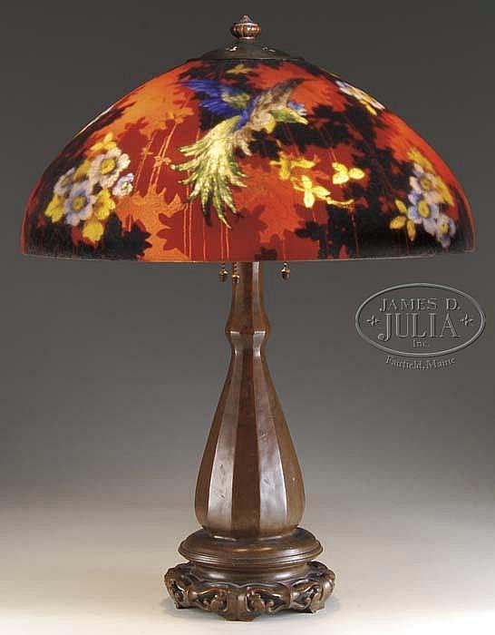 HANDEL RED CHINESE PHEASANT TABLE LAMP.