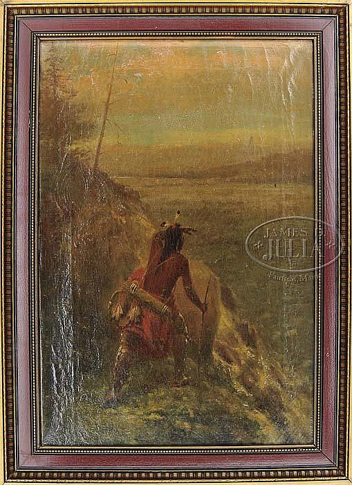TWO OIL PAINTINGS OF INDIANS BY AUGUST H. BECKER