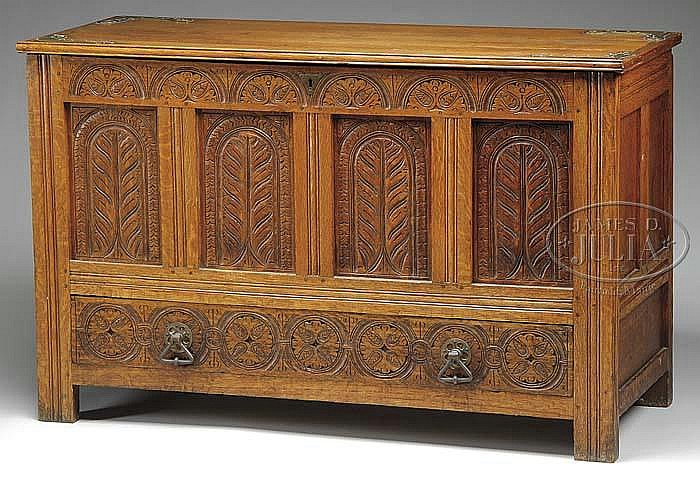 RARE PILGRIM CENTURY MASSACHUSETTS CARVED OAK PALM-PANEL CHEST, ATTRIBUTED TO THE SAVELL SHOP, BRAINTREE.