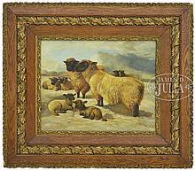 BELGIAN SCHOOL (Dutch, 19th Century) SHEEP IN WINTER LANDSCAPE
