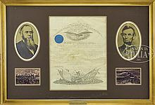 ABRAHAM LINCOLN SIGNED MILITARY COMMISSION OF BRIGADIER GENERAL CADWALLADER C. WASHBURN.