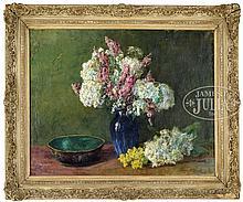 OLIVE PARKER BLACK (American, 1868-1948) BLUE VASE OF FLOWERS