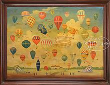 DECORATIVE RESTAURANT SIGN WITH HOT AIR BALLOONS.
