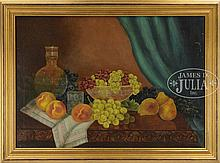 IDA J. OLNEY (American, 19th Century) STILL LIFE OF PEACHES, GRAPES AND PEARS