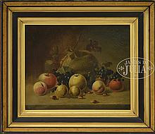 WILLIAM LANING (American, 1837-1860) STILL LIFE OF FRUIT