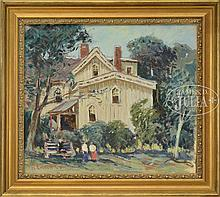 ROBERT EMMETT OWEN (American, 1878-1957) SUMMER LANDSCAPE WITH HOUSE & FIGURES