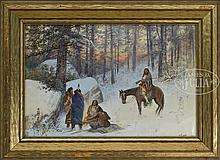 VICTOR (CASNELLI) CASENELLI (American, 1868-1961) FIVE NATIVE AMERICANS AROUND A WINTER CAMPFIRE.